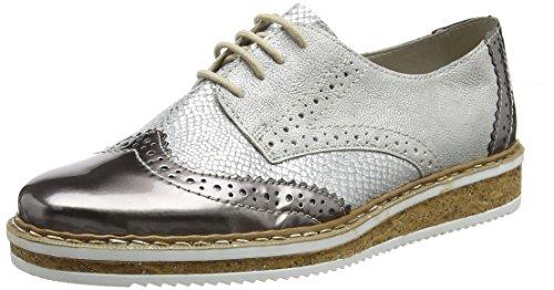 Rieker N0312, Zapatos de Cordones Derby para Mujer, Plateado (Altsilber/Grau/Frost), 40 EU