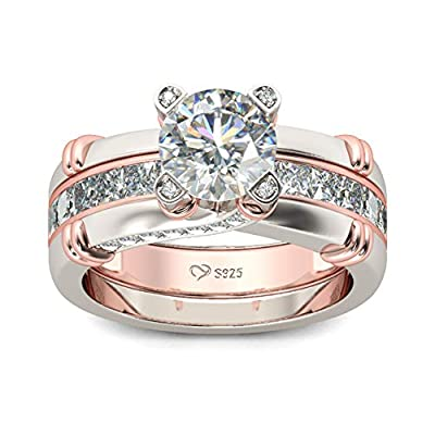 ✿ 【Inspiration】: The women wedding ring set with Glistening and glamorous design, this ring will win your heart. This eye-catching interchangeable ring set features an enchanting round stone and rows of smaller stones embellish the engagement ring in...