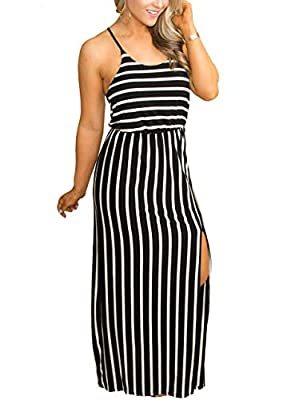 FEATURES: This maxi dress features adjustable Spaghetti Strap,Sleeveless,Racerback,Scoop Neck,Elastic Waist and Skirt with a long Slit on the side for ease of movement,sexy and casual OCCASION: This Spaghetti Strap maxi dress is so perfect for beach,...