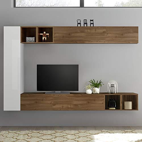 NOUVOMEUBLE Lizzano - Mobile da Parete per TV, Design Bianco Laccato e Colore Noce