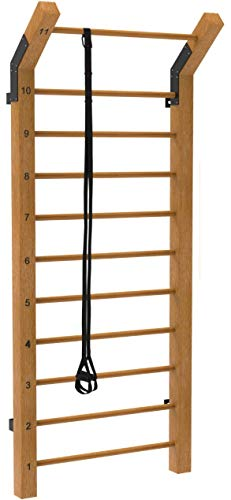 Limitless XVP Fitness Swedish Ladder Wood Stall Bar – Physical Therapy & Gymnastics Ladder w/ 11 Strategic Rods - Ideal for Back Pain Scoliosis Exercise Equipment & Range of Motion