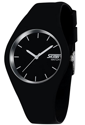Sports Unisex Fashion Casual Wrist Analog Quartz Compass Water Resistant Simple Freestyle Watch with 43mm Case, Silicone Strap - Black
