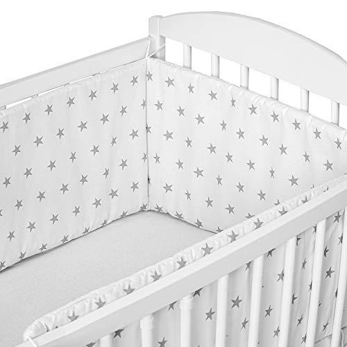tour de lit bebe garcon - contour lit bebe respirant (Blanc avec des étoiles grises, 180 x 30 cm)