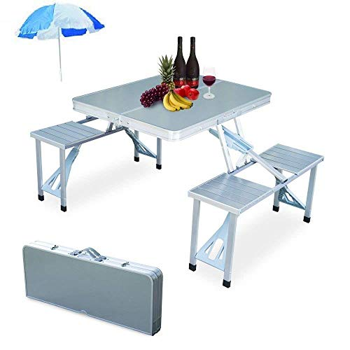 You God CH Enterprise Heavy Duty Aluminium Portable Folding Picnic Table & Chairs Set with Umbrella