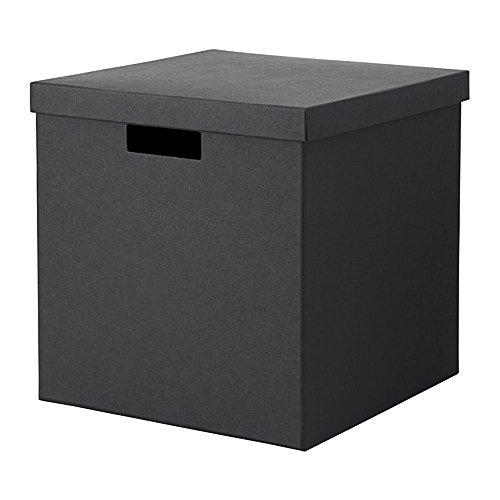 IKEA/イケア TJENA 収納ボックス ふた付き30x30x30 cm ブラック 30395482