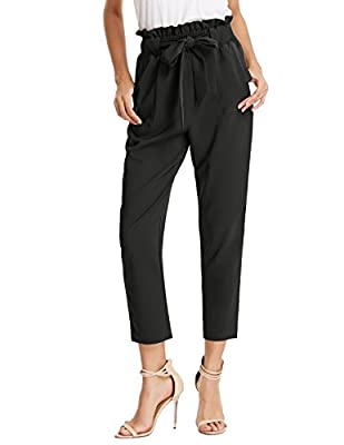 Women's High waisted Slim Fit Office Casual Pants Trousers with Pockets Functional two sides pockets, Elasticated waist with tie, High Waist design, Cropped length A great choose for Business, Office, Celebrations, Dates, Cocktail night out and any o...