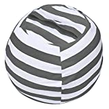Miaowater Stuffed Animal Storage Bean Bag Chair Cover, Cotton Canvas Beanbag with Zipper for Organizing Kid's and Adults Room Grey 24'