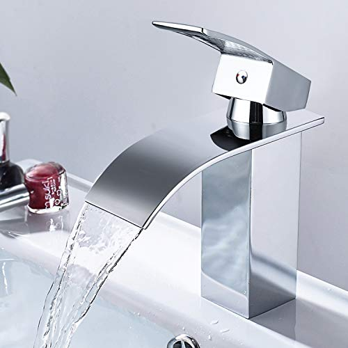 Wasserfall Wasserhahn, Waschtischarmatur für Badzimmer, mit Geräuscharmem Keramischem Ventilkern, Heißes und Kaltes Wasser Vorhanden, Verchromt Messing, Waschbecken Wasserhahn Bad