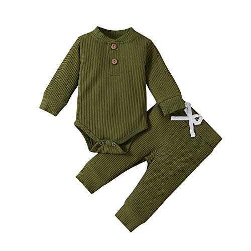 Newborn Baby Boy Girl Clothes Ribbed Knitted Cotton Long Sleeve...