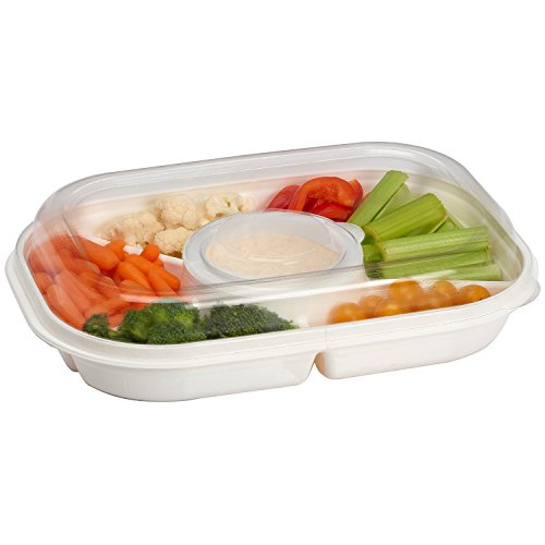 Party Platter Divided Portable Party Serving Tray Serving-Ware With Lid, |6| Extra Large Compartments for Dip, Appetizers, Snacks, Veggies, Chips and Holiday Foods by Buddeez