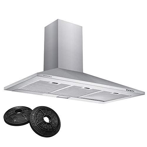 CIARRA CBCS9201 Cappa Aspirante 90cm 370 m/h Cappa da Cucina,in acciaio INOX, 3 gradini,filtro in alluminio, tubo di scarico (Argento)