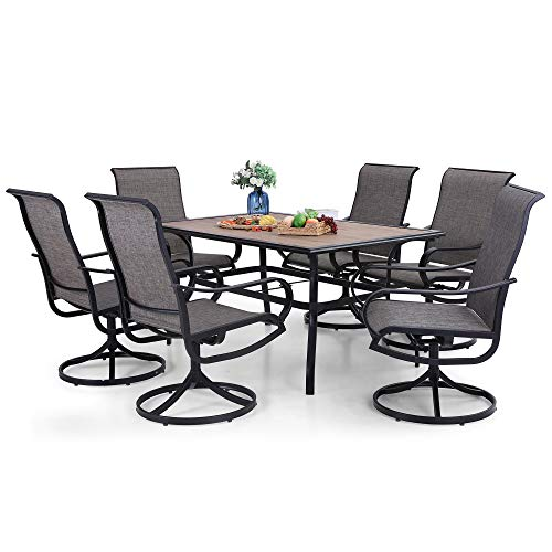 PHI VILLA Patio Dining Set for 6, 7 Piece Outdoor Table and Chairs with 6 Swivel Patio Chairs & 1 60' x 38' Wood Like Metal Dining Table(1.57' Umbrella Hole), All Weather Clearance for Lawn Garden