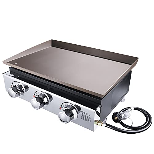 Camping Grill, Portable Propane Gas Grill with 23'' Large Size Baking Tray, Outdoor Griddle for Gas Grill with 3 Burners, 25500 BTU, Stainless Steel, Ideal for Outdoor Cooking, Camping & Party