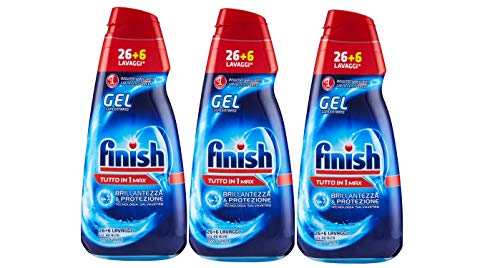 3x Finish All in 1 Max Powergel Detersivo Lavastoviglie, Regular, 650 ml ciascuno