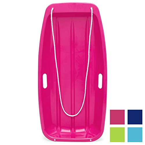Best Choice Products 35in Kids Outdoor Sport Snow Sled Toboggan w/ Rope - Pink