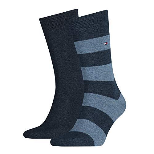 Tommy Hilfiger - Th Men Rugby Sock 2P, Calze da uomo, blu(Blau (jeans 356)), Taglia produttore: 39-42