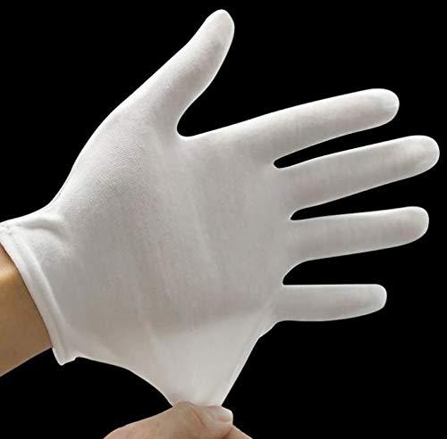 Kitchen-dream 15 paia di guanti in cotone bianco, cotone morbido a mano taglia L, guanti in tessuto...
