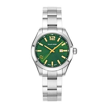 Philip Stein Analog Display Wrist Swiss Quartz Traveler Ladies Smart Watch Stainless Steel Silver Clasp Chain with Green Dial Natural Frequency Technology Provides More Energy - Model 91-CGRNG-SS