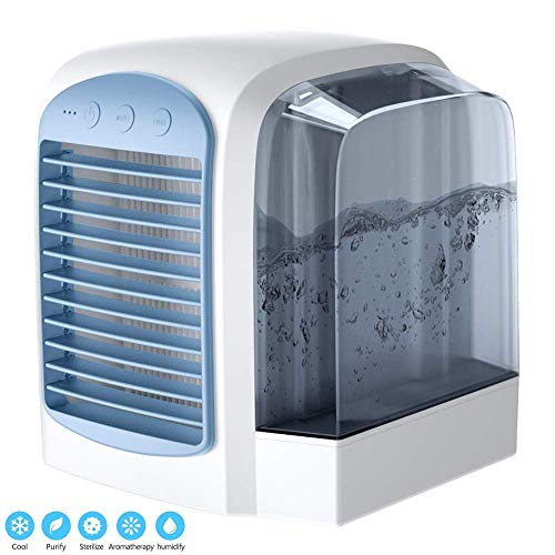 Personal Air Cooler, mini air conditioner, USB Coolers, with Water tank, Portable LED Table Fan, 3 Fan Speed, Ultra-Quiet Table Fan for Home Office, environmental friendly cooler fan (Blue)