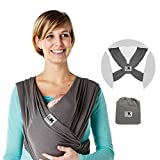 Baby K'tan Breeze Baby Wrap Carrier, Infant and Child Sling - Simple Pre-Wrapped Holder for Babywearing - No Tying or Rings - Carry Newborn up to 35 lbs, Charcoal, Small (W Dress 6-8 / M Jacket 37-38)