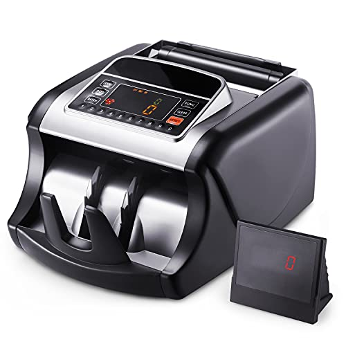 Money Counter, Bill Counting Machine with UV/MG/IR Detection, Counterfeit Bill Detection, Batch Mode, 1,000 Notes Per Minute, LED Display - Doesn't Count Value of Bills MMC01 - Black