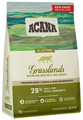 Acana Dry Cat Food, Grasslands, Chicken, Duck, Turkey, Fish, and Quail, 4lb