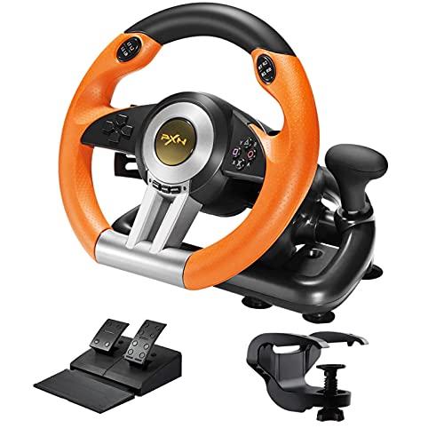 PXN Jeu Volant, V3II Steering Wheel avec Pédales, contrôleur de 180 degrés pour PS4/Xbox One/PC/PS3, Orange