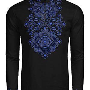 COOFANDY Men's Slim Fit Hippie Shirt Long Sleeve Floral Print Casual Zip Up Cotton Beach Party Henley T Shirt