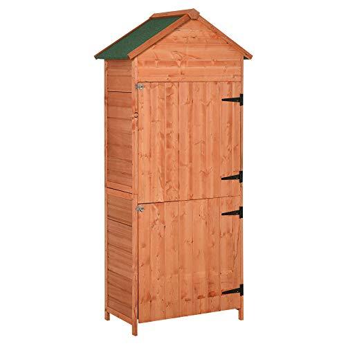 Outsunny Box Casetta Ripostiglio Porta Attrezzi da Giardino in Legno con Doppia Porta 89 x 50 x 190cm