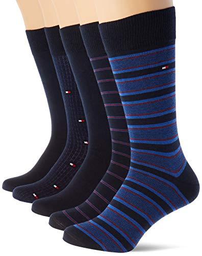 Tommy Hilfiger Th Men Sock 5p Fine Stripe Tin Giftbox calze, blu scuro, 43/46 (Pacco da 5) Uomo