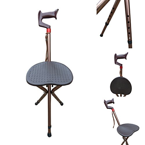 Amaze Adjustable Height Walking Stick with Folding Chair