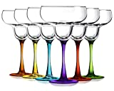 Margarita Glasses Party Set of 6 with Colored Accent-