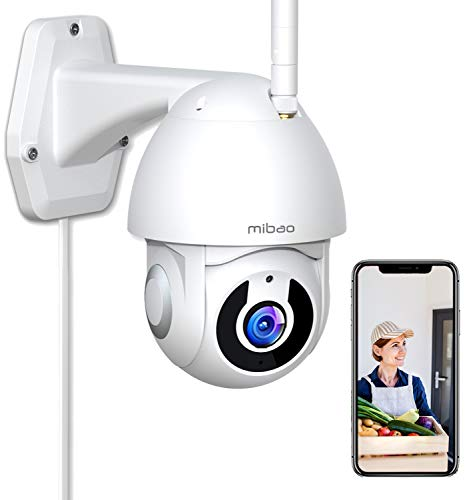 1296P WiFi videocamera sorveglianza esterno wifi,Mibao Telecamera WiFi Esterno con grandangolo di 355°/Super Night Vision/Allarme APP/Motion tracking/IP66 Impermeabile,Compatibile con iOS/Android