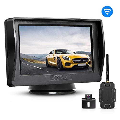 BOSCAM K1 Telecamera Retromarcia senza fili, Telecamera Posteriore, Telecamera per Auto Impermeabile IP68 con 4.3' Monitor, Telecamera di Backup per Auto, pick-up, furgoni ecc