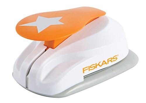 Fiskars Perforatore a leva con motivo, Stella,  1,9 cm, Per mancini e destrorsi, Acciaio di qualit/Plastica, Bianco/Arancione, Lever Punch, S, 1004641