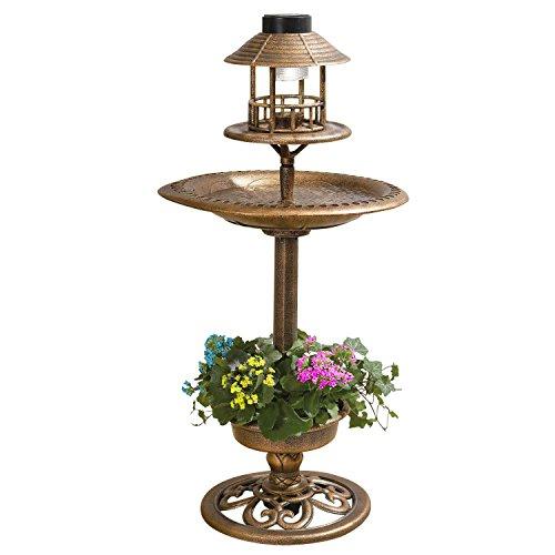 Conjunto 3en 1de bañera para pájaro con macetero y luz solar