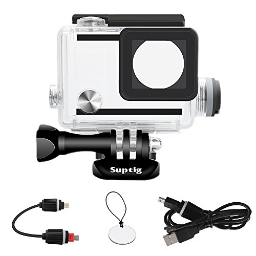 Suptig Housing Rechargeable Waterproof housing for GoPro Hero 4 Hero 3+ Hero 3 Outside Action Camera for Underwater Charge Use - Water Resistant up to 131ft (40m)
