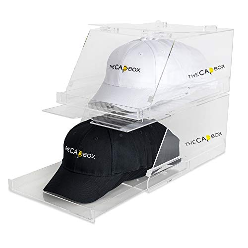 The Clear CapBox Stackable Hatrack Cap Rack Hat Box Storage Containter for Baseball Caps, Fitted Hats, Snapbacks &...