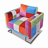vidaXL Fauteuil Cube avec Design de Patchwork Tissu Chambre à Coucher Salon