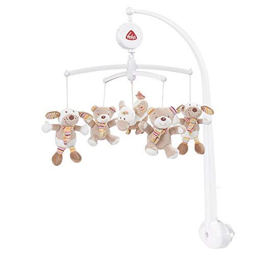 Fehn 160741 Musik-Mobile Rainbow – Spieluhr-Mobile mit niedlichen Teddys zum Lauschen & Staunen – Zum Befestigen am Bett für Babys von 0-5 Monaten – Höhe: 65 cm, ø 40 cm