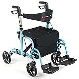 GOPLUS 2 in 1 Folding Rollator Walker, 4 Wheel Medical Rolling Walker with Adjustable Handle and Carry Bag for Adult, Senior, Elderly & Handicap, Aluminum Transport Chair Mobility Rollator (Blue)