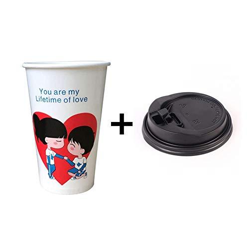 Alarmclocker8B 50 Tazze di Carta USA e Getta Bianche Tazze di caff USA e Getta 500 ml Bevanda Acqua Bevanda Tazza di imballaggio San Valentino Takeaway Packaging-Cup_And_lid1_500ml_50pcs