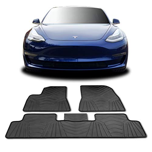T1A TruBuilt 1 Automotive #1 Tesla Model 3 Floor Mats - All Weather Fits 2017-2020 (Full Set Front & Rear) Accessories - Heavy Duty & Flexible Eco-Friendly All Season Latex Material by HEA