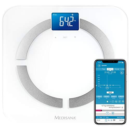 Medisana BS 430 connect, digitale Körperanalysewaage 180 kg, Personenwaage zur Messung von Körperfett, Körperwasser, Muskelmasse und Knochengewicht, Körperfettwaage mit Körperanalyse App
