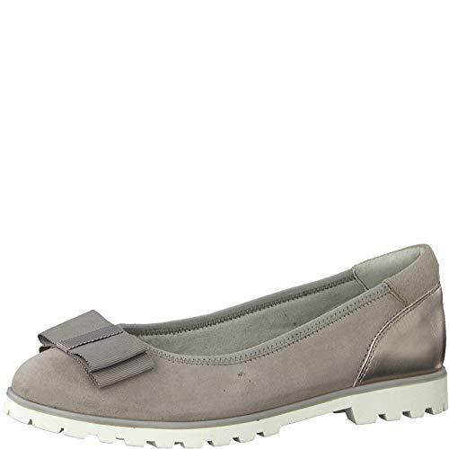 Tamaris Mujer Merceditas 22115-24, señora Bailarinas Clásicas, Zapatos Planos,Zapatos del Verano,Elegante,Ocio,Stone,40 EU / 6.5 UK