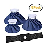 Elitehood Ice Bag Pack Reusable Ice Bag for Injuries, Hot & Cold Therapy and Pain Relief With Elastic Breathable Support Wrap, 4-Pack, 3 Sizes (6'/9'/11')