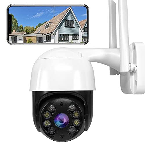 Cámaras inalámbricas para exteriores con visión nocturna, WiFi exterior 1080p PTZ Cámara IP Cámara de vigilancia con movimiento de giro de 320 ° e inclinación de 90 ° Detección de audio bidireccional