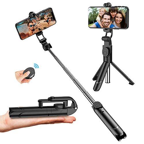 Bastone Selfie, Estensibile Selfie Stick Monopiede, Asta Bastone Selfie Treppiede con Bluetooth Remote Shutter per iPhone Samsung Galaxy Huawei