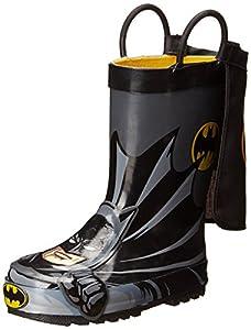 Western Chief Kids Boy's Waterproof D.C. Comics Character Rain Boots with Easy on Handles, Batman Everlast, 1 Little Kid