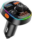Bovon Trasmettitore Bluetooth per Auto, 7 Colori Controluce con Modalità Gradiente, FM Transmitter Bluetooth 5V 2.4A, Caricatore Auto QC3.0, Kit Vivavoce per Auto, Supporto U Disk e TF Card